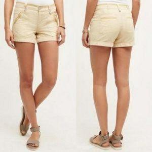 Pilcro Linen Cotton Micro Stripe High Waist Shorts